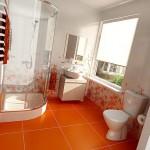 оранжевая ванная комната, яркий дизайн ванной комнаты